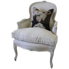 Antique Country French Painted Bergere Chair in the Louis XV Style | From a unique collection of antique and modern bergere chairs at https://www.1stdibs.com/furniture/seating/bergere-chairs/