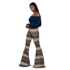 New Popular Boho Hippie High Waist Wide Leg Long Flared Bell Bottom Pants S M L