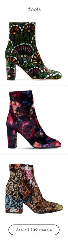 """""""Boots"""" by iamtrangdoan ❤ liked on Polyvore featuring shoes, boots, ankle booties, high heel ankle booties, short boots, velvet ankle boots, bootie boots, velvet booties, synthetic boots and block-heel boots"""
