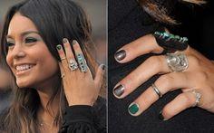 Vanessa Hudgens - green accent nail & love the rings!
