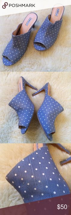 Blue and white polka dot mule heeled shoe Never worn brand new mule heels, real tan leather lining inside. Sold out unique design Marais  Shoes Heels