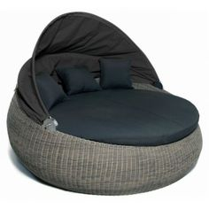 Canapé rond de jardin Pulau Polyrotin Textile Marron Beige