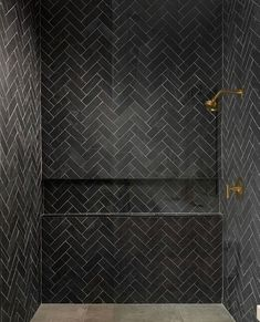 Shower Remodel Brown and Master Shower Remodel On A Budget. Black Tile Bathrooms, Small Bathroom, Bathroom Ideas, Neutral Bathroom, Interior Minimalista, Black Shower, Herringbone Tile, Black Tiles, Black Cement