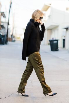 chunky knit sweater + silk pants + leather pumps // street style // fashion // fall // green // black // textures
