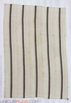 Handwoven Vintage Decorative Modern Black White Striped Natural Turkish Kilim Rug