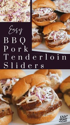 Easy BBQ Pork Tenderloin Sliders using only a few ingredients that are inexpensive. The perfect recipe for lunch or dinner. Chef Recipes, Pork Recipes, Cooking Recipes, Yummy Recipes, Bbq Pork Tenderloin, Good Food, Yummy Food, Slider Recipes, Lunch Snacks