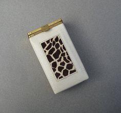 Buxton Cigarette Case White Leather & Giraffe Print Pony Skin by UncommonEye
