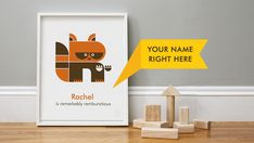 Print | A fun personalized print that includes a name, an animal illustrated to resemble the first letter of that name and an additional phrase describing the person it's for.