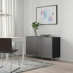 IKEA BESTA Black-Brown Kallviken/sularp, Dark Gray Concrete Effect Storage combination w doors/drawers Living Room Storage, Storage Spaces, Decoration Gris, Man Bathroom, Frame Shelf, Ikea Office, Plastic Foil, Plastic Drawers, Cement