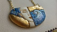 Gold Porcelain Necklace Unique Jewelry Woman and the Sea Stainless Steel and Naturalle stones Unique Necklaces, Unique Jewelry, Brass Necklace, Coin Purse, Women Jewelry, Porcelain, Stones, Stainless Steel, Sea