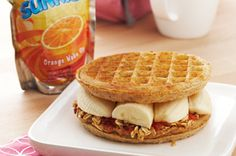 Peanut Butter Banana Waffle-Wich recipe great for kids :)