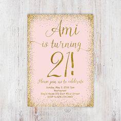21st birthday invitation printable girly от InvitationsDigital                                                                                                                                                                                 More
