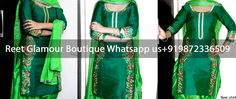 Stunning Green Contrasted Embroidered Punjabi Suit Product Code : Reet_em524 Direct Link: https://goo.gl/1mkoKi For more details whatsapp us: +919872336509 We can design this suit in any color combination or on any fabric (price may vary accoroding to fabric)