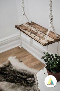 La Voltigeuse Teak wood handcrafted swing. Outside by BohoMontreal