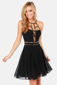 Go down in history as the siren of seductive fashion in the Modern Goddess Beaded Black Dress! An alluring lightweight chiffon dress is adorned with an elaborate network of golden tube beads around a caged neckline (with back hook closure), cutout bodice, and fitted waistband. Fit and flare dress has a silky full skirt with two sexy front slits. Invisible back zipper/hook clasp. Dress is fully lined. Model is wearing a size small. 100% Polyester. Dry Clean Only.