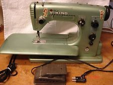 VINTAGE HUSQVARNA VIKING GREEN TYPE 21E SEWING MACHINE MADE SWEDEN PARTS RESTORE