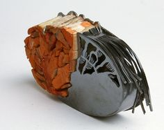 Teresa F. Faris - Collaboration with a Bird ll  2012  Sterling silver, wood altered by a bird