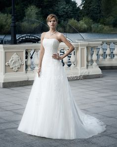 A line wedding dress, made of tulle - 15011