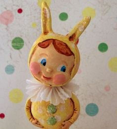 Bunny Kid in Yellow by thepolkadotpixie on Etsy