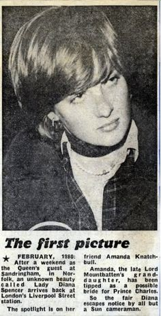 February 1980 - Lady Diana Spencer was a guest at Sandringham with her friend Amanda. Amanda Natchbull, granddaughter of Lord Mountbatten has been tipped as a possible bride for Prince Charles
