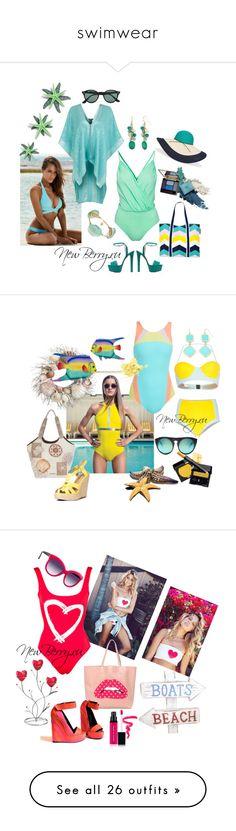 """swimwear"" by explorer-14181574792 on Polyvore featuring swimwear, beachwear, мода, Chaps, NOVICA, Sunnylife, Miss Selfridge, Gucci, Bourbon and Boweties и Ray-Ban"