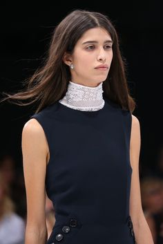 I've never met a turtleneck I didn't like, and this hand-tatted lace number on Raf Simons' Dior runway was no exception.   —Nicole Phelps
