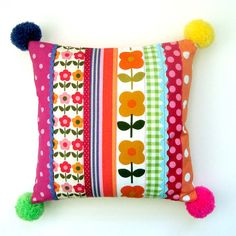Yay these new pom pom pillows are the CUTEST thing ever...!  Designed and perfectly handmade by me, one of a kind and completely unique, this