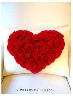 Items similar to HEART - Blooming Red Heart Pillow - 14 x 19 inch on Etsy Red And White Kitchen, Sewing Crafts, Diy Crafts, Heart Pillow, Beaded Choker Necklace, I Love Heart, Jewelry Making Tutorials, Leather Cord, Black Leather