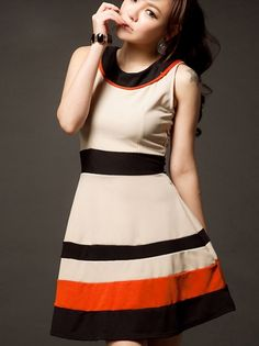 Wide Striped Sleeveless Boatneck Dress Apricot on BuyTrends.com
