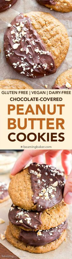 Chocolate Covered Peanut Butter Cookies (V, GF): an easy recipe for soft 'n chewy peanut butter cookies wrapped in a velvety layer of chocolate and topped with crunchy peanuts. Gluten Free Peanut Butter Cookies, Gluten Free Cookie Recipes, Gluten Free Chocolate Chip Cookies, Delicious Cookie Recipes, Dairy Free Chocolate, Peanut Butter Recipes, Healthy Cookies, Gluten Free Desserts, Vegan Desserts