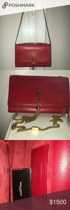 Classic Med Monogram SL Tassel Satchel Classic Medium Monogram Saint Laurent Tassel Satchel In Lipstick Red Leather  Gently used. 100% Authentic. Yves Saint Laurent Bags Crossbody Bags