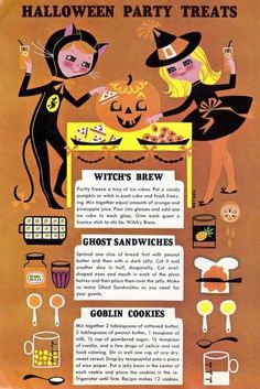 Did you guys know that Halloween used to be much more of a baking holiday than it is today? Today, we're sharing a collection of vintage Halloween recipes from cookbooks, recipe booklets, advertisements, magazines, grocery store flyers, newsletters, and various other sources. Try to spot any recipes that you might remember from Halloweens past.