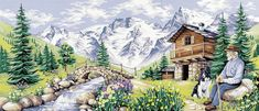 A lovely landscape with a shepherd and his collie relaxing. Tent Stitch, Tapestry Kits, Needlepoint Canvases, Collie, Cross Stitch, The Incredibles, Paris, Canvas Prints, Embroidery