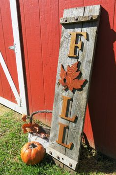 This is a very unique, hand made sign that we designed. This sign is approximately 43 in. by 9.75 in. and weighs about 12-15 lbs (but will vary slightly). It would especially make a lovely porch/entryway decoration. The letters and leaf are all cut out by hand, about 3/8 in. thick and made from hard wood. They are also all held on by small nails, which adds to the classic charm. These signs are made to order, so the wood in the background, leaf and letters will vary slightly. We design all…