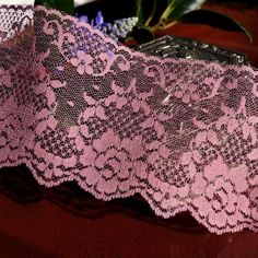 """3½"""" Floral Lace Trim - Dusty Rose   Lace Trim"""