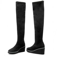 Cizme lungi mușchetar SOLO FEMME - 81402-12-F94/000-12-00 Negru Knee Boots, Wedges, Shoes, Fashion, Moda, Zapatos, Shoes Outlet, Fashion Styles, Knee Boot