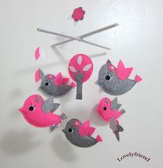 Baby Crib Mobile - Baby Mobile - Felt Mobile - Nursery mobile - Owl And Bird Theme (Custom Color Available). $78.00, via Etsy.