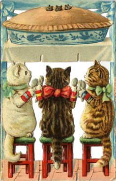 Hungry kittens - Vintage Christmas Card