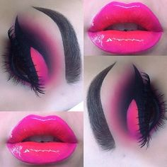 Hot pink and black eyeshadow with hot pink lips Loading. Hot pink and black eyeshadow with hot pink lips Cute Makeup, Gorgeous Makeup, Pretty Makeup, Makeup Art, Lip Makeup, Beauty Makeup, Makeup Geek, Tattoo Henna, Hot Pink Lips