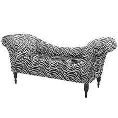 Parisian Love Seat - Zebra Velveteen