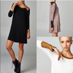 ZOE Zippered Sueded Cuff Tunic Dress - 2 colors HP 8/26Zippered Sueded Cuff Tunic Dress. AVAILABLE IN MOCHA & BLACKNO TRADE Dresses Long Sleeve
