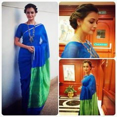 Dia Mirza in an Indigo Chanderi silk sari teamed with a green pallu and zari border.She Wears Handloom. Do you? GiftPiper.com- committed to the cause of Indian weaves and crafts.