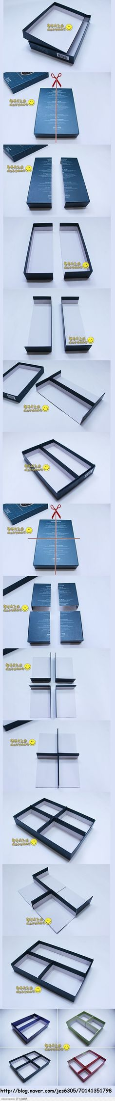 DIY Pictorial on how to take the top & bottom of a box & make sev diff types of organizational compartments! Clever!