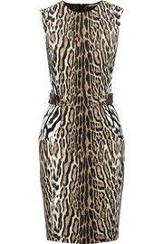 Roberto CavalliStudded leopard-print stretch-crepe dress