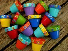 Favores de la ducha nupcial o pequeñas macetas pintadas - conjunto de 25 - favores de partido de los niños - bebé