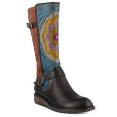 Mandala Embossed Leather Boots