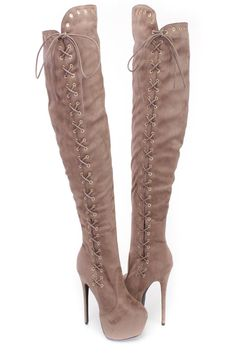 Taupe Lace Up 6 Inch High Heel Thigh High Boots Faux Suede