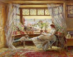 Charles James Lewis Reading by the Window print for sale. Shop for Charles James Lewis Reading by the Window painting and frame at discount price, ships in 24 hours. Cheap price prints end soon. Girl Reading Book, Reading Art, Woman Reading, Reading Nook, Beach Reading, Charles James, Illustration, Window Art, Window Poster