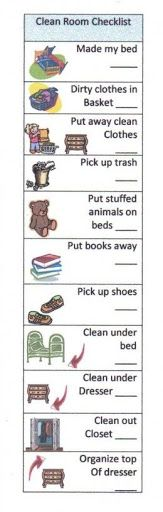 Clean room check list for kids- we have this hanging, and it works great! We laminated it and use dry erase markers to check each item off.