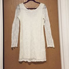 "White Lace Summer Dress Adorable white lace summer dress. Washed, never worn. Ties in the back. I'm 5'3"" and it hits me about 2-3"" above the knee. Sleeves are see-through. element Dresses Long Sleeve"